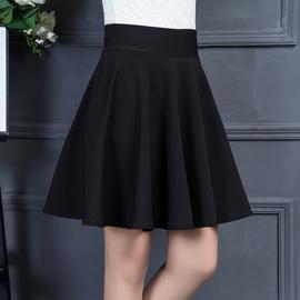 黑色半身短裙女2020秋冬季新款百褶裙高腰a字裙显瘦大摆蓬蓬裙子