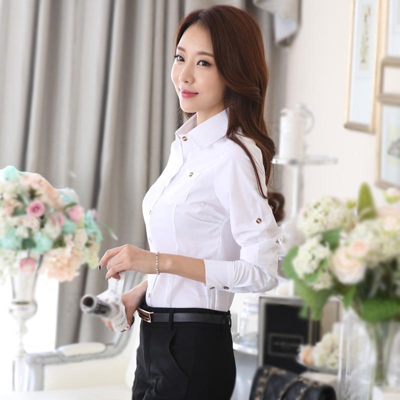 Тонкий износ тенденция летом и осенью 2015 новой корейской версии базы работы студент Хлопок белую рубашку женщин длинный рукав рубашки