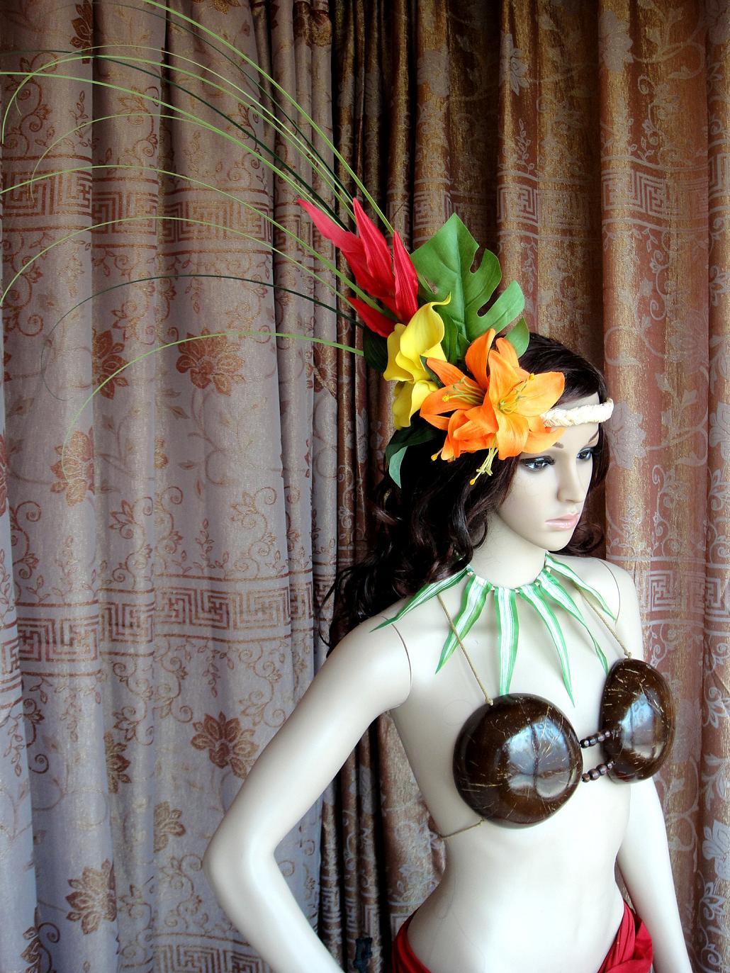 Гавайи юбки танец аксессуары для волос большой ручей земля юбки танец производительность на основе головной убор Tahiti headdress