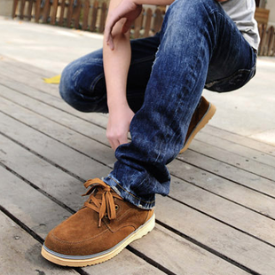 Summer suede leather men s casual shoes to help low breathable shoes Korean version of the British retro lace shoe drive