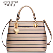 2015 winter tide for women bags leather bag black and white striped fashion brands handbags slung shoulder bag