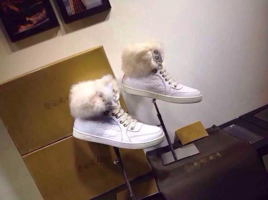 Европе высокий классический кролика кожаная обувь туфли с плоским круглые тисненые платформы головы женщин hi-топ кроссовки