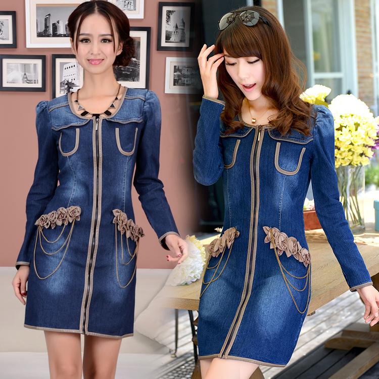 Charm element 2021 denim dress elastic slim round neck mid Changchun autumn flower long sleeve denim skirt women