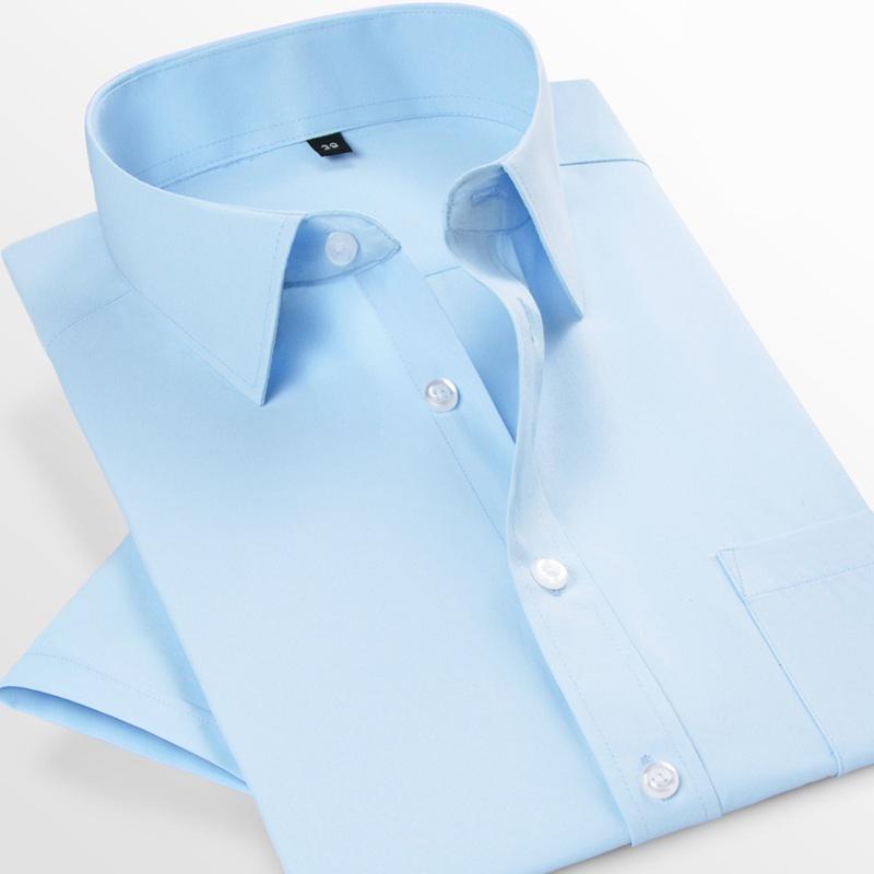 羅浮賓仕 男士短袖白襯衫商務職業工作服正裝襯衣男裝