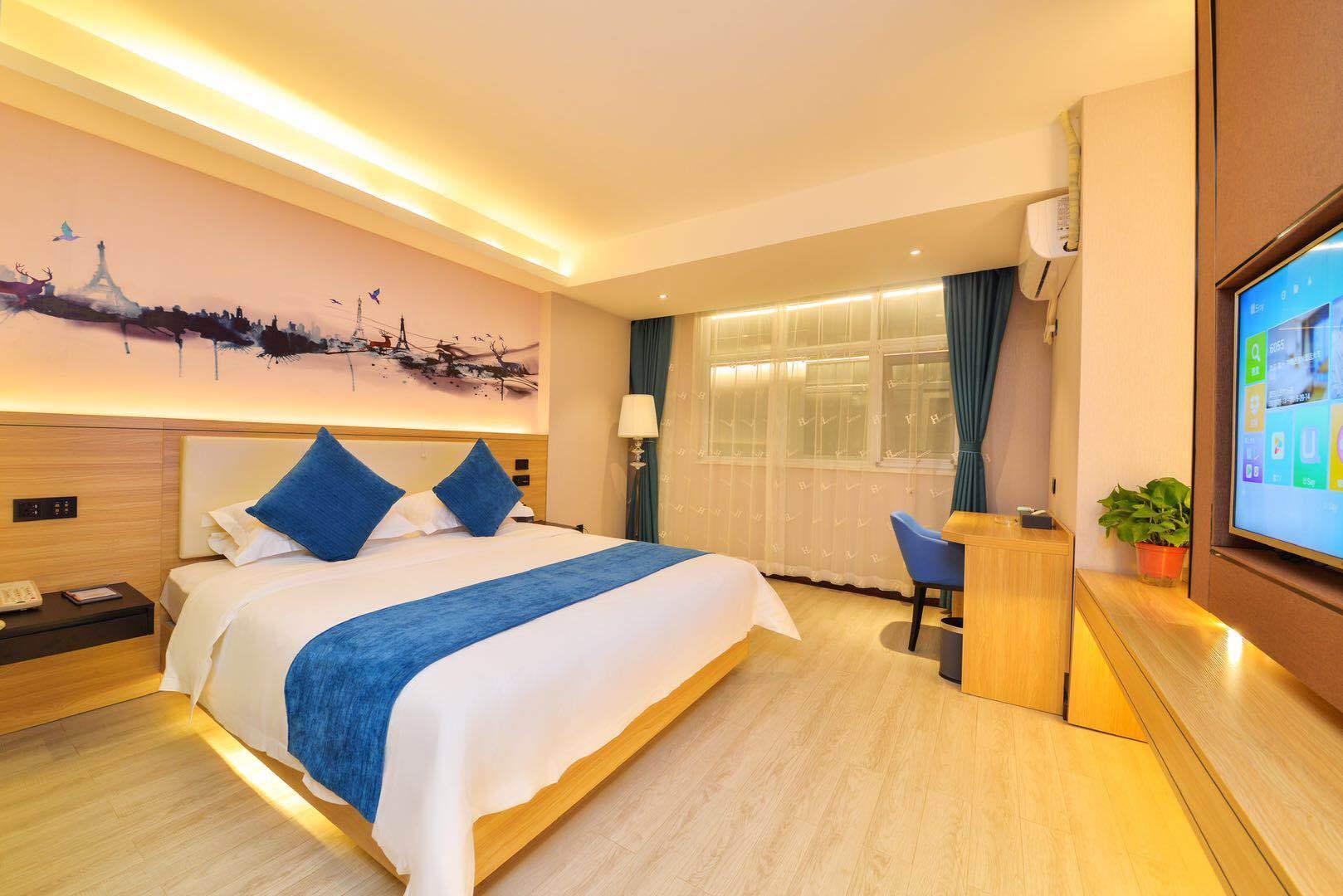 H酒店(西安火车站五路口地铁机场大巴店)内景智能舒适大床房(内窗