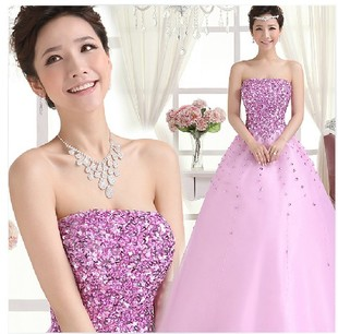 2015 new autumn fashion clothes Bra toast the bride wedding dress banquet evening dress long section Slim purple pink
