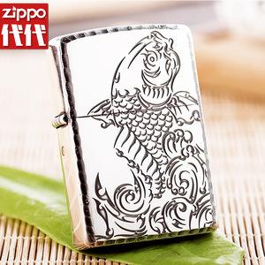 打火机zippo官网新款 镀银熏黑深雕刻富贵有余(鱼)防风打火机