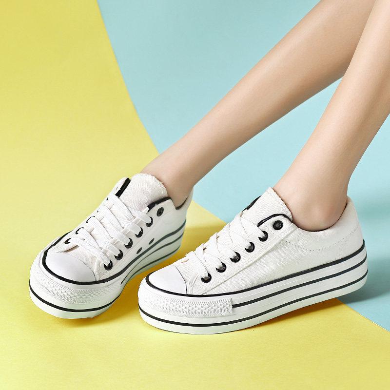 厚底白色帆布鞋女韩版百搭板鞋学生平底大码原宿风布鞋子ulzzang