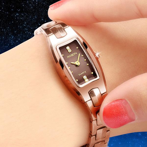 勞士頓表全鎢鋼石英表高亮度 女士腕表手鏈式手表女表防水1106
