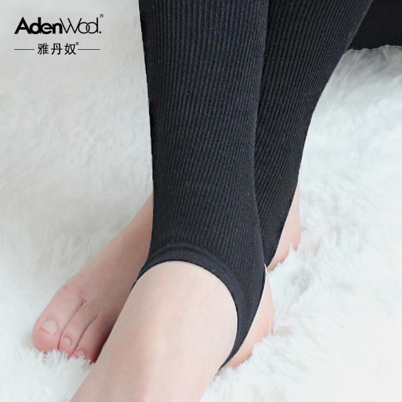 雅丹奴豎條紋踩腳打底褲春秋款 薄款打底襪女士秋裝 針織外穿