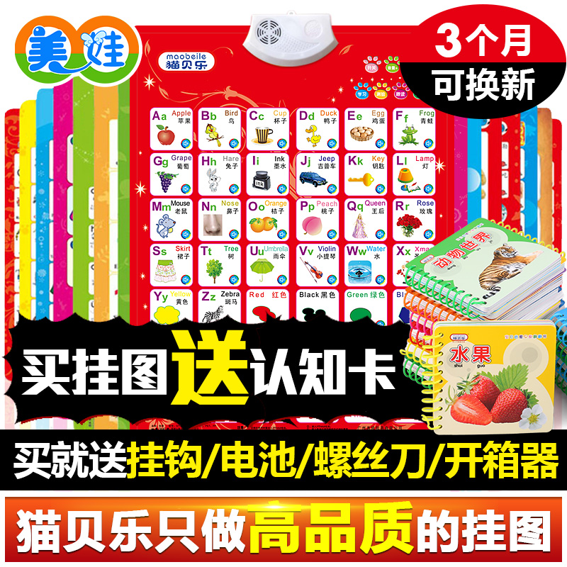 Кот baylor звук флип-чарт ребенок обучения в раннем возрасте карта игрушка ребенок наклейки для стен вокализация голос грамотность пиньинь познавательный карта