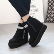 Europe autumn cake thick-soled boots double zipper TOU Shui platform wedges women's boots boots and bare