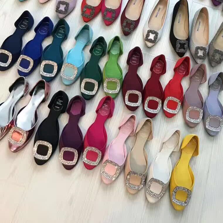 RV square button flat shoes hollow water drill button sandals womens Satin Wedding Shoes hollow single shoes