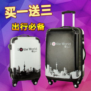 PC mirror Trolley suitcase caster tide graffiti 24 inch 28 inch travel case for men and women 20 board chassis