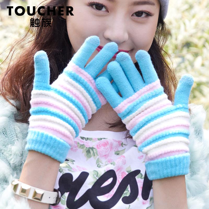 触族韩版针织手套女冬季毛线手套针织加厚保暖女生可爱触摸屏手套
