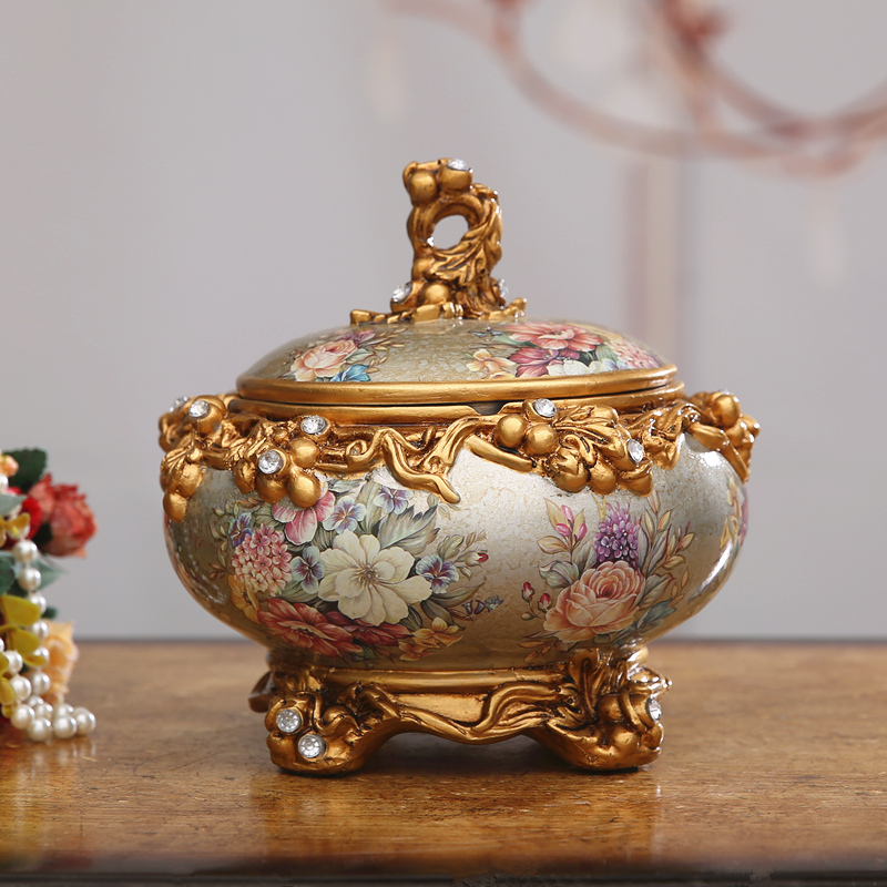 特大號歐式奢華複古裝飾煙灰缸 帶蓋煙缸客廳茶幾工藝擺件