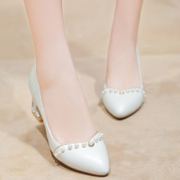 Spring of 2015 new leather pointy thick with Pearl light sweet light leather high heel shoes women shoes