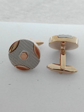 The new 2015 electroplating cufflinks geometric circular white steel rose gold cufflinks