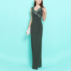 Role ~V bright collar sequin elastic waist long presided over the banquet evening dress, sleeveless dresses, high-waisted