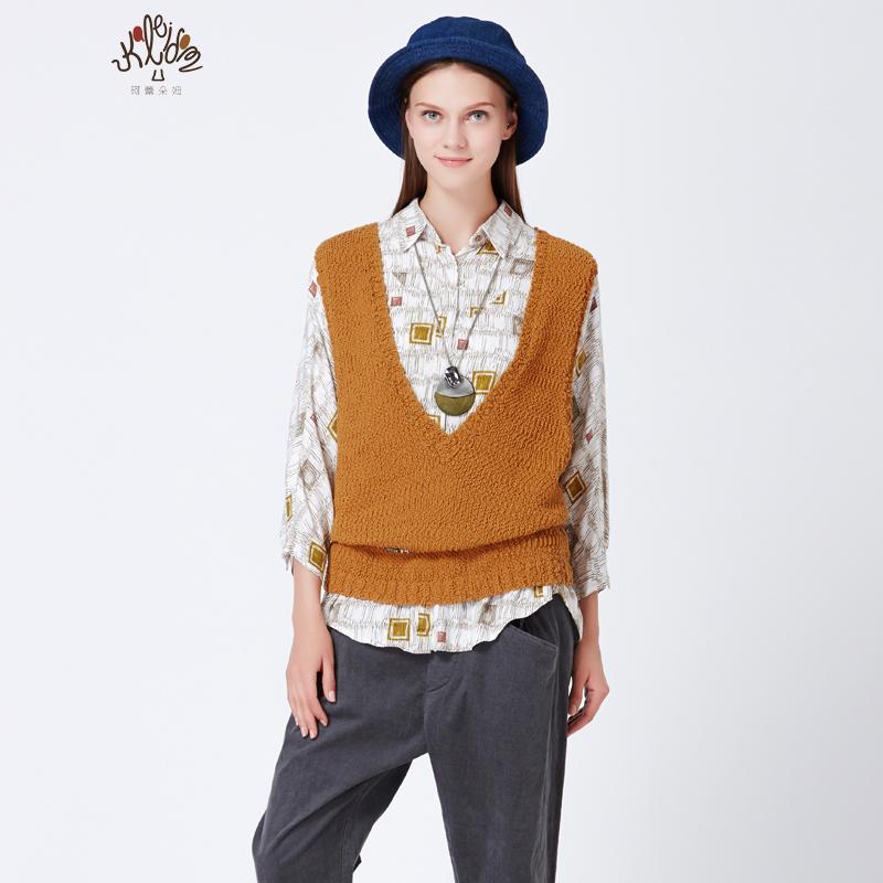 珂蕾朵姆2016秋装新款宽松针织坎肩背心外搭上衣外套女装K2143R05
