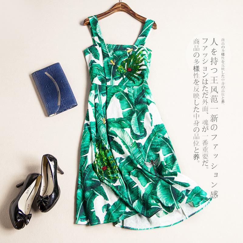 Евро 2016 летние стили платья цветочные блесток тонкий талии ремень платье зеленые листья летом