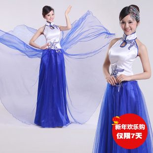 Stage costumes female chorus clothing skirt dress 2015 new erhu zither folk music classical dance clothing