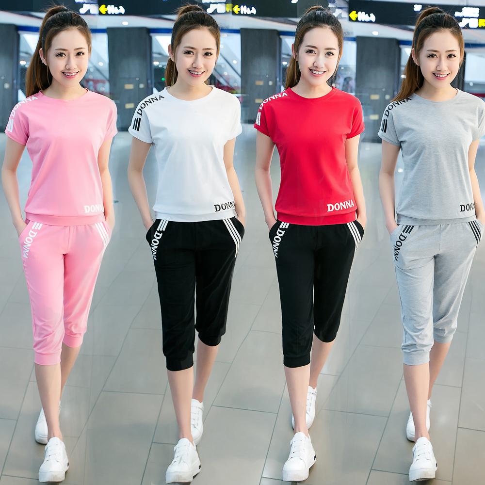 2017 новый большой код обтягивающий стройнящий случайный спортивный набор женщины одеваются лето мода короткий рукав 7 минут штаны бег движение одежда