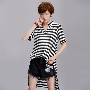 实拍9853-1#欧韩新款女装T恤2017夏V领条纹短袖前短后长显瘦条纹T