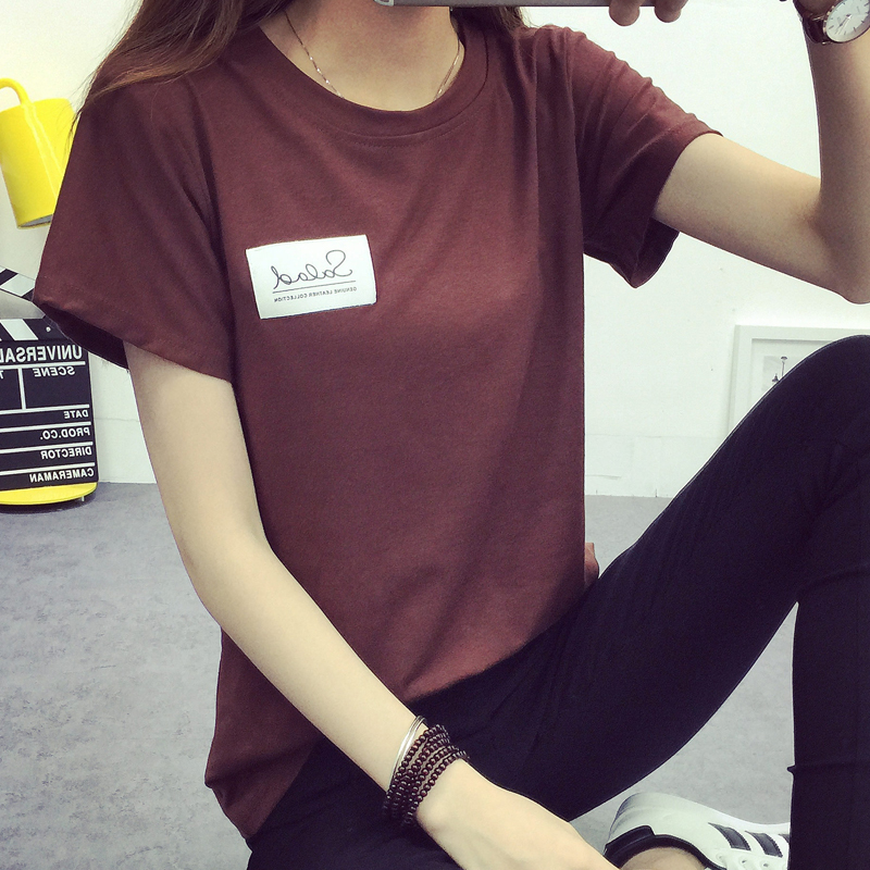 短袖t恤女2016春夏韩版宽松学生上衣半袖个性体恤简约百搭打底衫