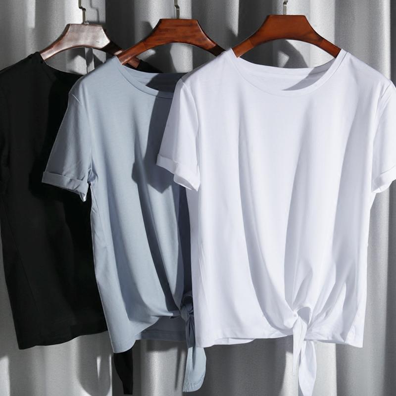 丝光棉延续款,不变型,不起球 下摆打结宽松短袖全棉百搭T恤女夏