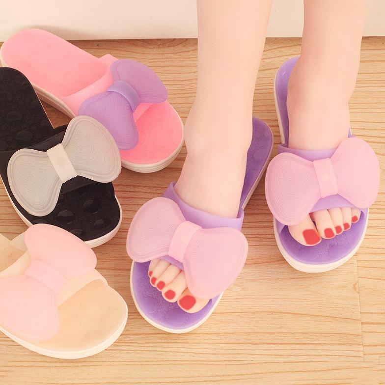韓國夏天花朵蝴蝶結涼拖鞋室內家居拖鞋 平底女款居家水晶拖鞋