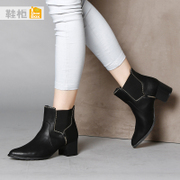 Shoebox fashion shoes PU shoe 2015 new Europe and pointy boots with rough with 1115505225