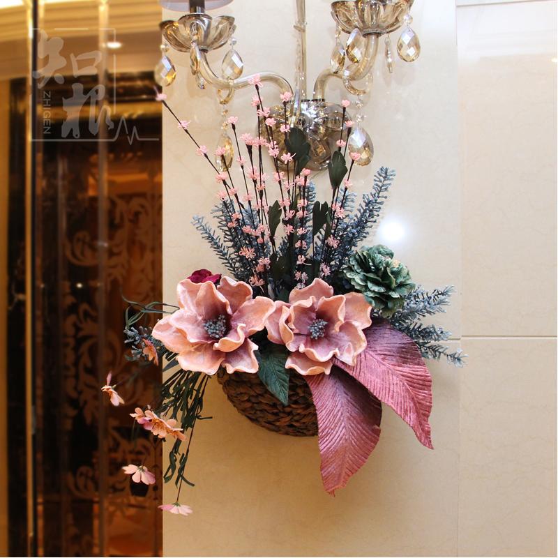 歐式田園家居仿真花壁掛花籃花藝套裝牆麵壁飾牆上掛飾牆壁裝飾品