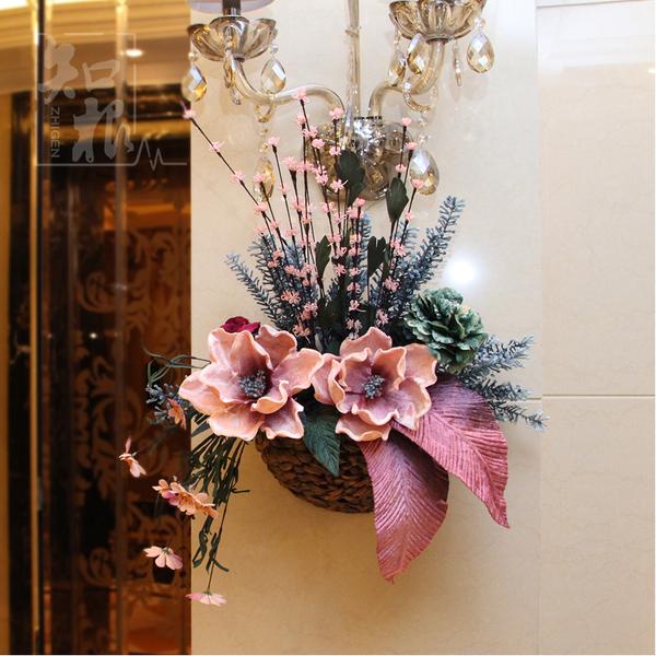 欧式田园家居仿真花壁挂花篮花艺套装墙面壁饰墙上挂饰墙壁装饰品