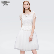 Fine bi Lin new Womenswear summer 2015 organza dress in small fields breathe sweet neck high waist short sleeve dress