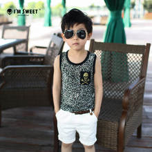 New Jersey 2015 summer and fall big children's wear boy's summer fashion breathable children absorbent cotton vest harness