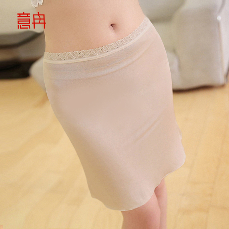 真丝衬裙短裙女夏桑蚕丝蕾丝半身裙三分薄款大码内搭防走光打底裙