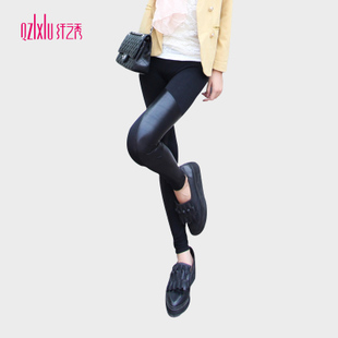The new 2014 autumn Korean version of the influx of trousers stitching leather pants bottoming boots pants feet leggings thin section