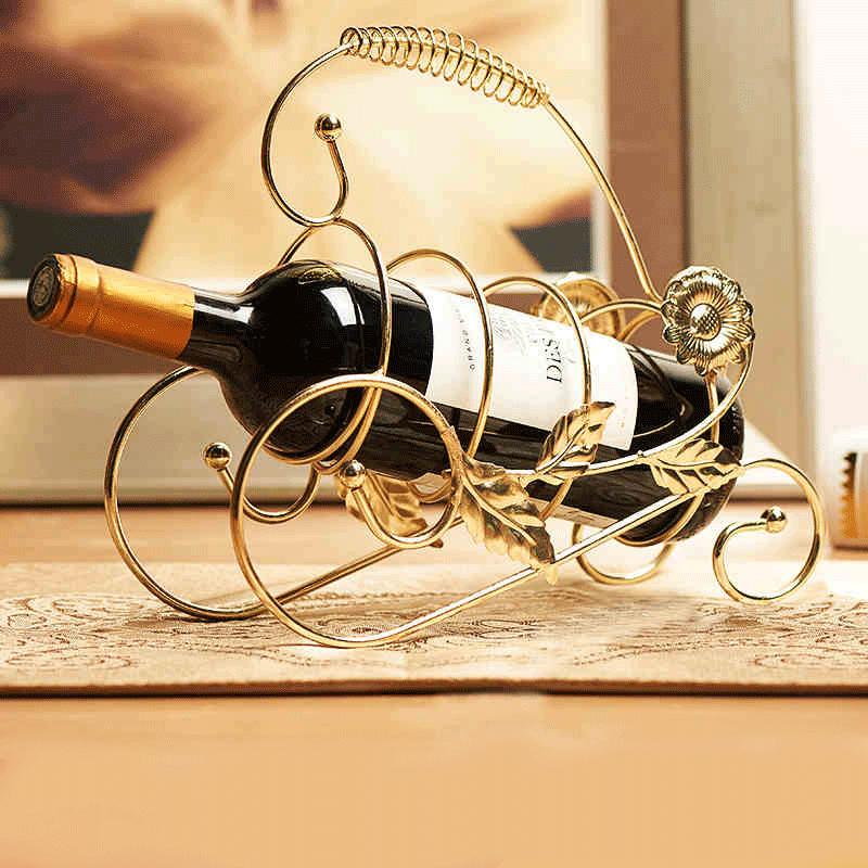 歐式紅酒架 簡約酒櫃裝飾品小擺件客廳電視櫃複古鐵藝 酒架