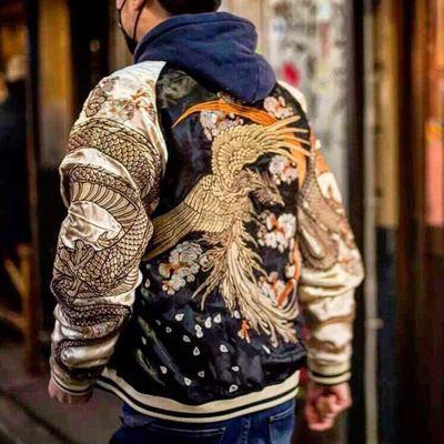 经典日本横须贺刺绣男女情侣款双面夹克 奉天承运浮世绘龙凤外套