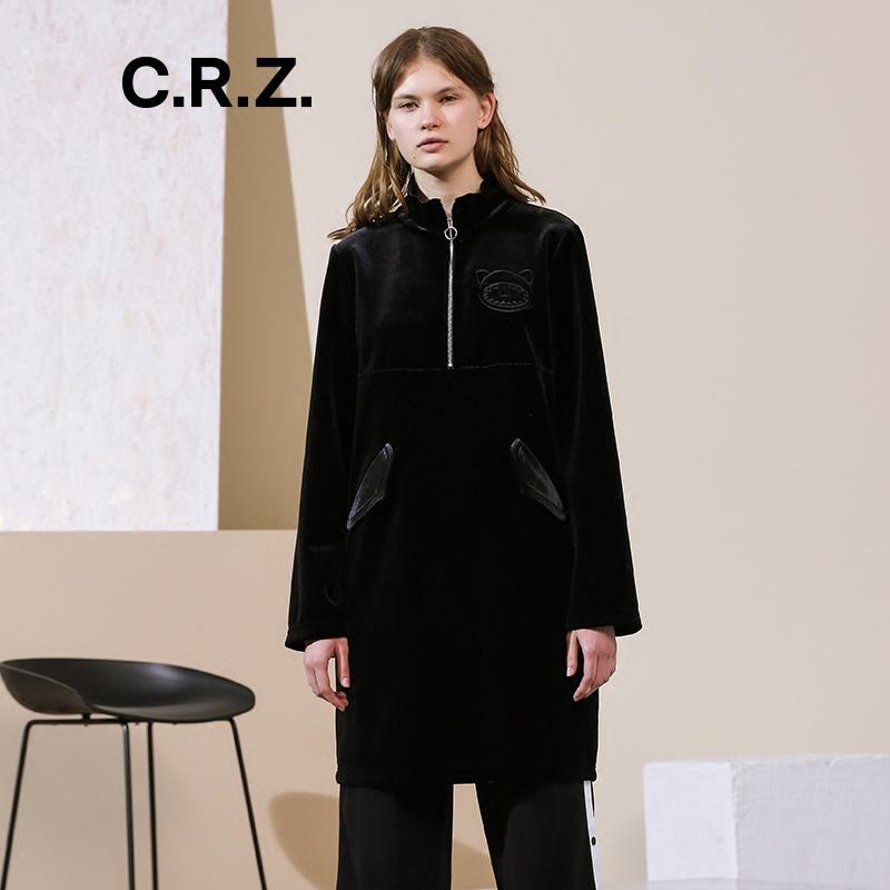 CRZ潮牌女装2017秋冬专柜新品绒面长袖中长款女连衣裙CDK4L384