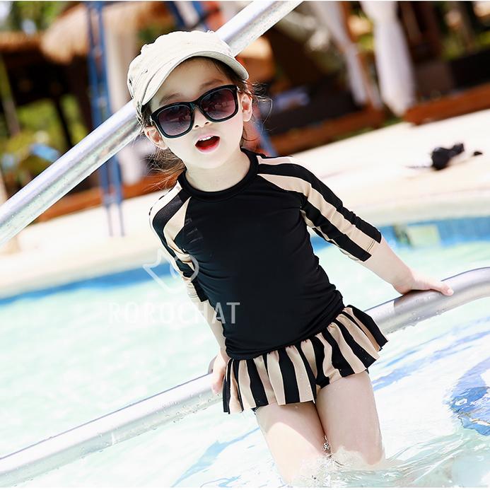 兒童泳衣女童中大童長袖條紋 小童寶寶分體女孩遊泳套裝