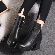2015 new coarse with thick-soled boots for fall/winter waterproof plush leather boots fashion high heel shoes boots