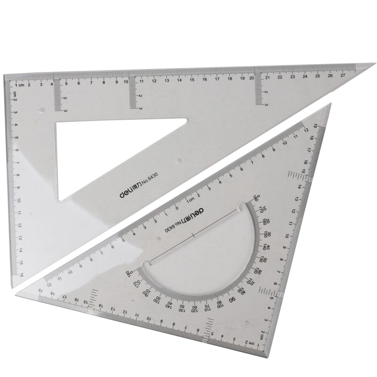 得力塑料三角尺13 18 23 28 33 38 43厘米透明三角板尺子套裝2把