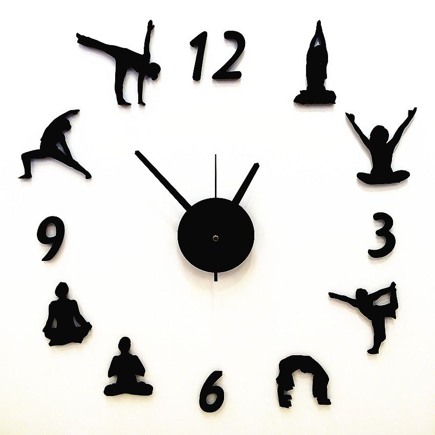 創意的な時計の客間の掛け時計の静音の石英の時計の個性のヨガDIYはファッション的な壁の時計の壁紙を飾って販売促進を貼ります。