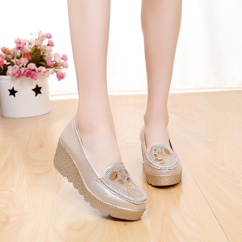 京麒祥老北京布鞋女鞋坡跟单鞋高跟时尚金银色亮片女布鞋松糕厚底图片