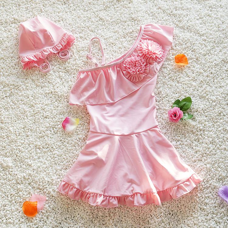 新款儿童泳衣韩版中大女童连体裙式游泳衣可爱公主女孩泳装带泳帽