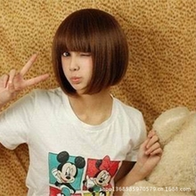 Fashion short hair girl Qi inclined bang bobo head repair face film Bob