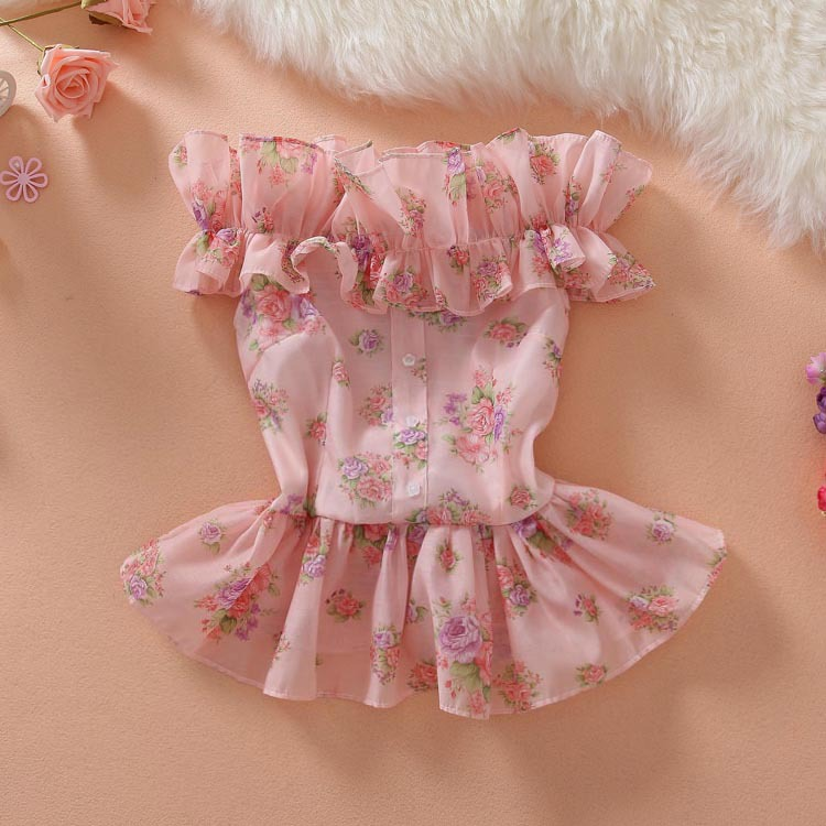 In summer of 2019, its a sweet off shoulder agaric one line collar, broken flower button, ruffle, folded waist and slim top girl