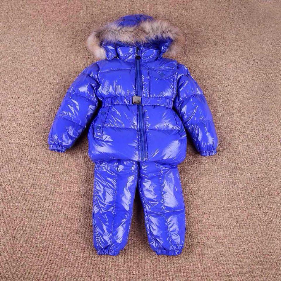 Специальное предложение детей новые торговые потоки вниз куртка водонепроницаемый ветрозащитный лыжные костюмы для мальчиков и девочек костюм комбинезон одежда